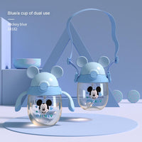 Disney baby cup Kid straw cup drinking milk PPSU baby learning cup with handle scale bottle bottle