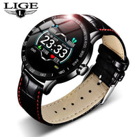 LIGE 2019 New leather smart watch men leather smart watch sport For iPhone Heart rate blood pressure Fitness tracker smartwatch