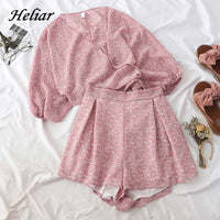 Heliar High-Waisted Short and V-neck Printed Blouses Two Pc Outfits 2019 Summer Women Sets two piece set top and Shorts
