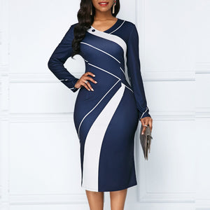 Autumn Winter Dress Women 2019 Casual Plus Size Slim Office Pencil Dresses Elegant Sexy V Neck Geometric Print Long Party Dress