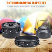 Outdoor Camping Cookware Utensils Dishes Cookware Set Picnic Hiking Heat Pot Kettle Outdoor Tourism Cook set of dishes for picni