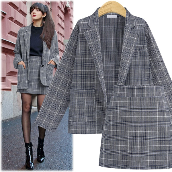 CINESSD 2 Pieces Sets Office Skirt Suits Women Autumn Single Button Notched Plaid Blazer