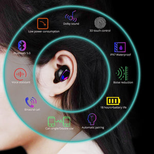 TWS Bluetooth Headphone 5.0 Wireless Earbuds HIFI 6D Stereo Handsfree Control Noise Cancelling Earphone Gaming Headset for phone