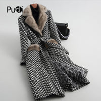 Pudi women real mink fur collar coat jacket trench female sheep Lamb Fur liner coats long parka A59051