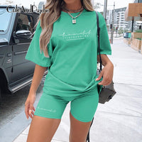 Casual Basic Women's Two Pieces of Sets Homewear Oversize Shirt and Skinny Shorts Set Streetwear Letter Print Set  Cuteandpsycho