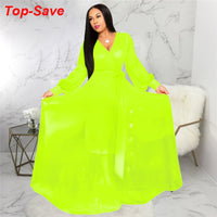 Wholesale Cheap Fashion Casual Sexy Women Evening Party Dresses 2019 Autumn Robe Femme V-neck Chiffon Neon Dress Female Clothing
