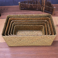 Handmade Straw Weaving Storage Of Things Fruit Dish Basket For Sundries Cosmetic Snacks Box Use For Kitchen Bathroom Gift