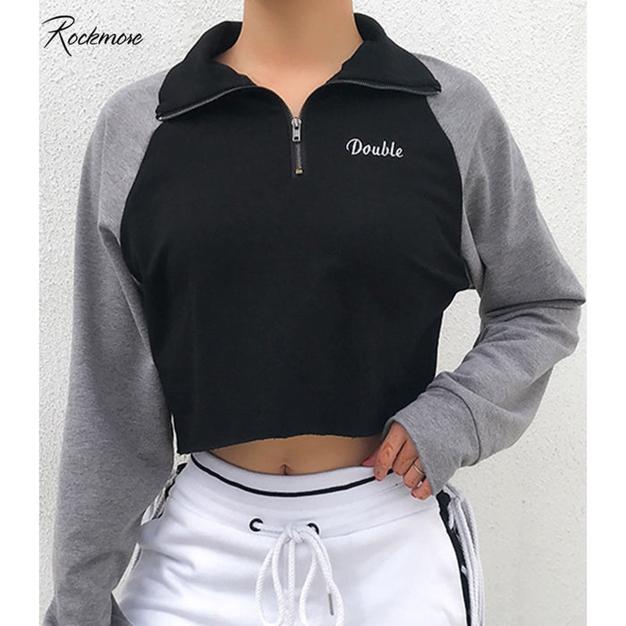 Rockmore Zipper Turtleneck Hoodies Crop Top Women Hooded Sweatshirt Plus Size Hoodie