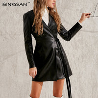 NANKEY Women Fashion Black Pu Leather Dress Jacket Elegant V Neck Long Belt Dress Winter Warm Fit Causal Christmas Outfit