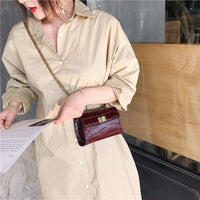 Mini Stone Pattern Crossbody Bags For Women 2019 New Quality PU Leather Ladies Designer Handbags Chains Shoulder Messenger Bags