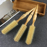1pc Natural Boar Bristle Round Brush Groove Design Handle Hair Rolling Brush For Hair Drying Styling
