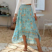 Boho Inspired ROSY MAXI SKIRT floral cotton high-low hem skirts womens new elastic