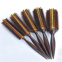 IRUI 1pc Natural Boar Bristle Round Brush Wooden Handle Hair Rolling Brush For Hair Drying Styling Curling