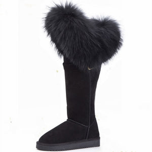 G&Zaco  Winter Natural Black Fox Fur Snow Boots Cow Genuine Leather Knee High Boots Long Waterproof Raccoon Women Boots
