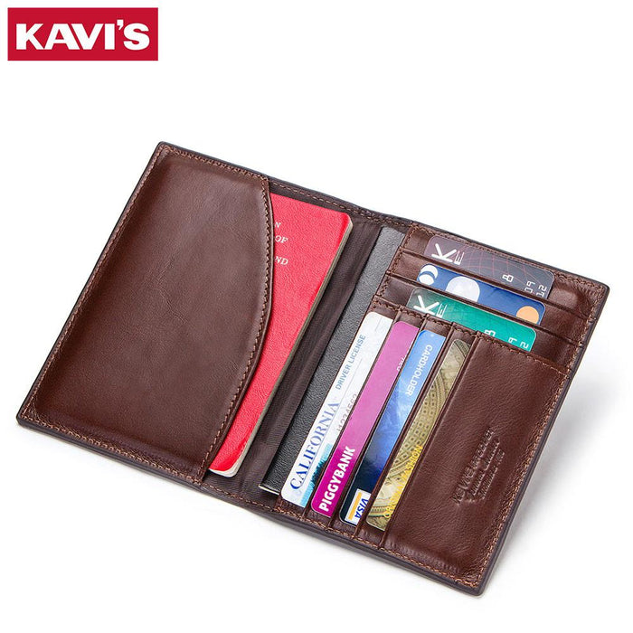 KAVIS Genuine Leather Passport Cover ID Business Card Holder Travel Credit Wallet