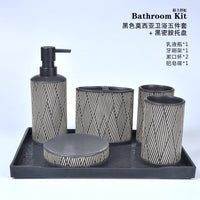 Black / White Ceramic Bathroom Five-Piece Bathroom Toothbrush Cup Mouth Cup Wedding