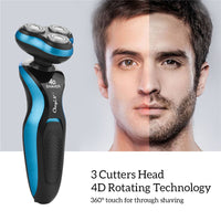 4D Floating Triple Head  Electric Shaver Men Washable Wet Dry Beard Trimmer Shaving Machine Razor Rechargeable Shaver Face Care
