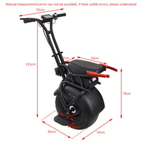 "18"" Big Single Wheel Scooter One Wheel Self-Balancing Adult Electric Motorcycle Scooter With Seat 60V Electric Unicycle Scooter"