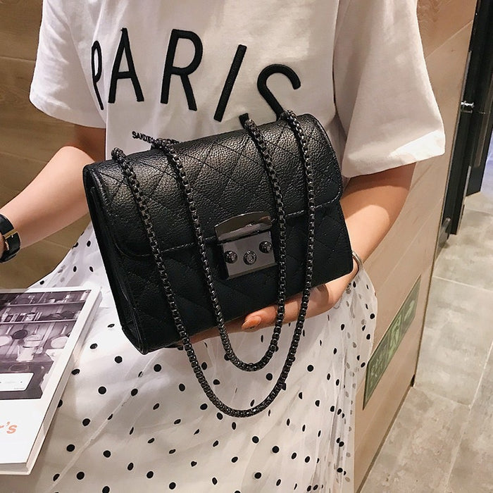 Small Messenger Chain Bag For Women 2019 Pu Leather Ladies Black Crossbody Bags Designer