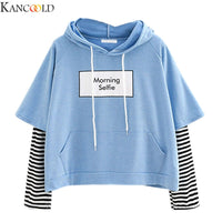 KANCOOLD Women Sweatshirt Hooded Long Sleeve Crop Patchwork Blouse Pullover Tops Sweatshirt korean style blue black white #1