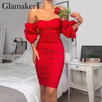 Glamaker Red pleated sexy party dress Women strapless bodycon summer midi dress Elegant backless fashion chic ladies dress retro