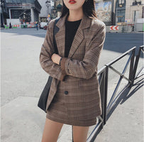Mozuleva 2020 Retro Plaid Blazer Set Single-breasted Jacket & Pencil Skirt 2 Pieces Skirt Suit Female Office Ladies Blazer Suit