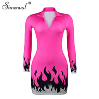 Simenual Fitness Sexy V Neck Bodycon Dress Women Long Sleeve Neon Flame Print Dresses Zipper 2019 Autumn Fashion Slim Mini Dress