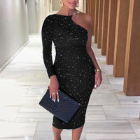 Women Sexy Glittering One Shoulder Midi Dress Sexy Chain Strap One Shoulder Party Dresses