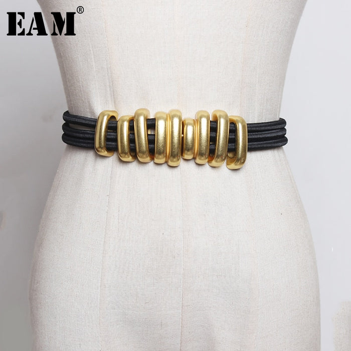 [EAM]  Black Elastic Band Split Joint Metal Circle Long Belt Personality Women New Fashion Tide Waistband Belts