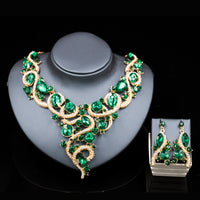 Luxurious Wedding Jewelry Sets Big Rhinestone Crystal Statement Bridal Gold Necklace Earrings Sets Christmas Gift for women