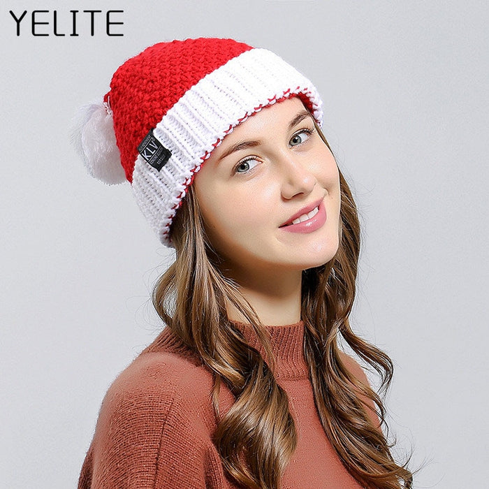 YELITE Christmas Beanie Winter Hats For Women Men Santa Claus Knit Hat Female Male Skullies