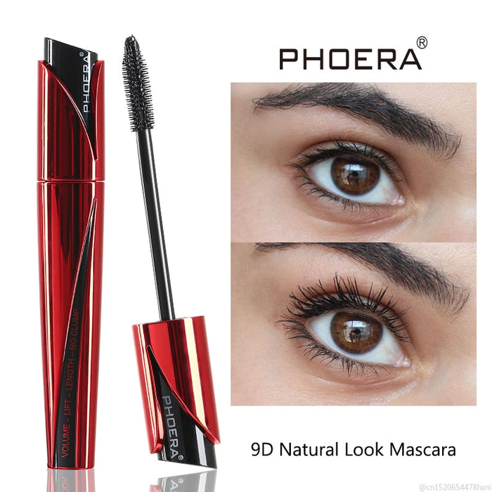 PHOERA High Definition 9D Mascara Silicone Brush Flexible Waterproof Extension Rimel Thick