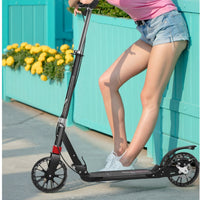 Two wheels Folding Kick Scooter for Adults Kids Portable Foot Scooter Height Adjustable Aluminum Alloy Disc Brake  PU Wheels