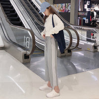 Summer autumn new ankle-length Capris patchwork pleated casual drawstring harem pants high quality Women's Clothing Korean style