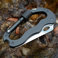 5 in 1 Multi Carabiner Hanging Buckle Tool EDC Gear Multifunctional Folding Knife Outdoor
