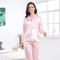 2020 Summer Women's Pajamas Sets Pink Striped Female Silk Two Pieces Shirts+Pants