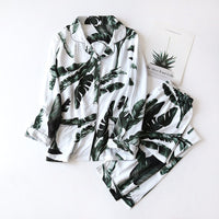 Women's Summer Two-piece Home Suit for Spring and Summer Thin Long-sleeved Viscose Cotton Pants Pajamas Women Summer Cotton Suit