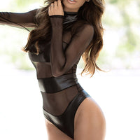 2020 Women Summer Bodysuit Mesh Leather Patchwork Sexy Black Body Suits See Through Night Club Party Streetwear Body One Piece