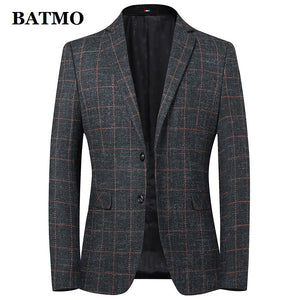 Batmo 2019 new arrival high quality wool plaid casual blazer men,men's suits jackets ,casual jackets