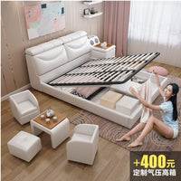 New Modern Furniture Sofa Bed Smart Message Tatami Bed Leather Bed with tea table