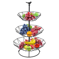 Countertop Fruit Basket Holder Decorative Tabletop Stand Perfect for Vegetables Snacks Kitchen Household Items 3 Tier Black
