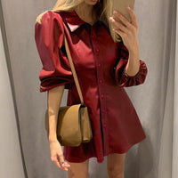 MoneRffi Fashion Women Dresses Spring Autumn Black PU Leather Dresses 2020 New Ladies Long Sleeve Turn-Down Collar Mini Dresses