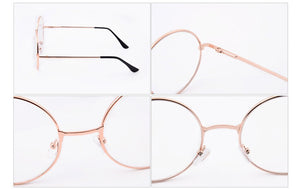 Retro Classic Gold Frame Fashion Eyeglasses Frame Men'S Women'S Sunglasses Round Transparent Metal Glasses Frame Black Eyewear