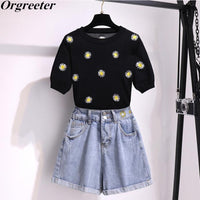 New Arrival Sweet daisy Embroidery Knitted Two piece Sets Women Simple Flower Embroidery Knitted Tops and Denim Shorts Suits