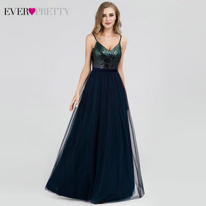 Sequined Evening Dresses Long Ever Pretty A-Line V-Neck Backless Tulle Elegant Evening Gowns For Women Vestido Noche Elegante