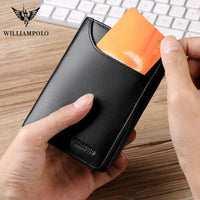 WILLIAMPOLO Real leather wallet small card bag men short slim small short leather cowskin Luxury design Coin Pocket Purse mens
