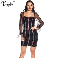 Sexy Mesh Long sleeve casual woman Summer sequin dress women vintage Club party bodycon office Mini dress ladies dresses vestido