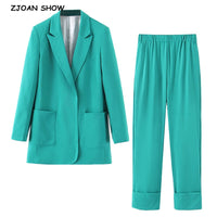 2019 New Autumn No button Notched Mid long Blazer green Elastic Waist Long Pants Long Sleeve Casual Suits Women 2 Pieces Set