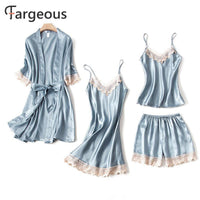 Fashion Sexy Satin Sleepwear Women 4 Pcs Female Spaghetti Strap Lace Tops Shorts Wrap Nighgrown Ladies Plus Size Pajma Sets