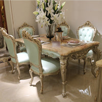 European style marble dining table 1.6 / 1.8 meters solid wood rectangular dining table 6 people dining table classical American